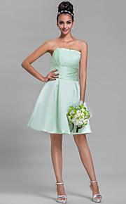 Homecoming Knee-length Satin Bridesmaid Dress - Sage Plus Sizes A-line Strapless