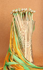 Green&Yellow&Gold Wedding Ribbon Wand--(Set of 10)