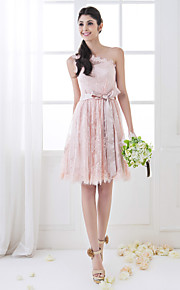 Lanting Knee-length Lace Bridesmaid Dress - Pearl Pink Plus Sizes / Petite A-line One Shoulder