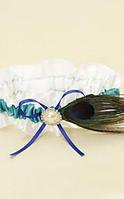 Rayure bleue avec plume de paon Jarretière Blanc