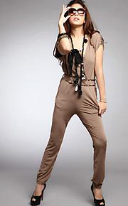 Frauen mit V-Ausschnitt Solid Color Jumpsuit