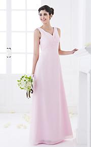Lanting Floor-length Chiffon Bridesmaid Dress - Blushing Pink Plus Sizes / Petite Sheath/Column V-neck