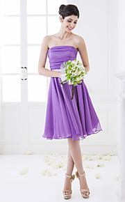 Bridesmaid Dress Knee Length Chiffon And Stretch Satin A Line Strapless Dress (663652)