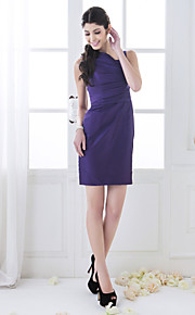 Short/Mini Taffeta Bridesmaid Dress - Grape Plus Sizes Sheath/Column Straps