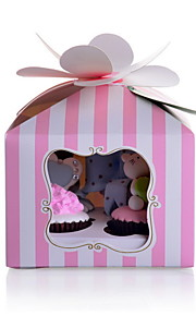 Strip Pattern Cupcake Favor Box With Floral Seal - Set of 12