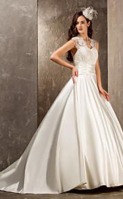 Lanting Bride® Corte en A / Princesa Tallas pequeñas / Tallas Grandes Vestido de Boda - Elegante y Lujoso / Glamouroso Larga Reina Anne
