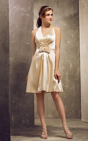Knee-length Stretch Satin Bridesmaid Dress - Champagne Apple/Hourglass/Inverted Triangle/Pear/Rectangle/Plus Sizes/Petite/Misses