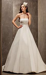 Lanting una línea de barrido sin tirantes de la princesa / cepillo de tren de satén y tul vestido de novia (560812)