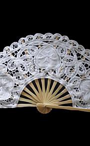 White Flower&Heart Design Lace Hand Fan