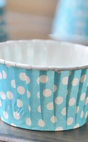 Papier bleu à pois emballages de petit gâteau - Ensemble de 50