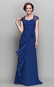 A-line Plus Sizes Mother of the Bride Dress - Dark Navy Floor-length Short Sleeve Georgette