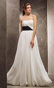 Bridesmaid Dress Floor Length Chiffon Sheath Column Strapless Dress With Criss Cross (1036882)