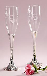 Pesonalized Floral Engraved Design Stem Toasting Flutes