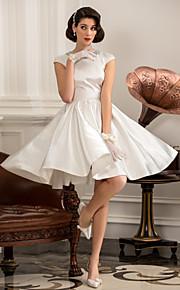 Lanting una línea / princesa pequeña / más el tamaño de vestido de novia - la rodilla-longitud de satén marfil joya