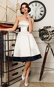 Lanting una línea / princesa más el tamaño de vestido de novia - la rodilla-longitud de satén color marfil