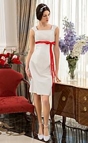 Lanting una línea / princesa tallas grandes del vestido de boda - marfil hasta la rodilla tafetán cuadrado