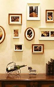 白いゴールデン·写真9の壁フレームコレクションセット
