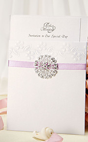 Wrap & Pocket Wedding Invitation With Lilac Ribbon and Rhinestone Flower - Set of 12