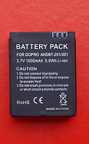 DSTE Udskiftning 3.7V 1600mAh batteri til GoPro HD Hero 3 ahdbt-201/301 - sort