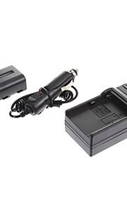 ismartdigi-Sony NP-FM500H 1650mAh, 7.2V camera batterij + Autolader voor Sony A57 A65 A77 A450 A560 A580 A90