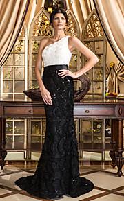 Formal Evening Dress - Multi-color Plus Sizes Trumpet/Mermaid One Shoulder Court Train Lace