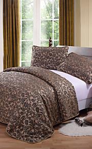 huani® påslakan set, 3-delat polyester traditionell stil jacquard blommig kaffe