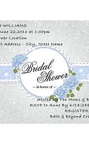 Personalized Light Sky Blue Sash Design Bridal Shower Cards - Set of 12