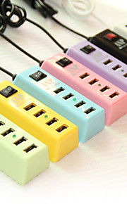 4-in-one USB Hubs US Plug Charger for iPhone/iPad and Others (5V 2.1A,180CM,Assorted Colors)