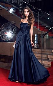 Formal Evening Dress - Dark Navy Plus Sizes Sheath/Column Sweetheart Sweep/Brush Train Satin