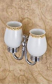Contemporary Style Chrome Finish  Brass Material  Doudle Toothbrush Holder Cup Rack