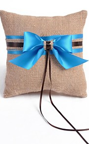 Fresh Linen with Blue Ribbon Wedding Ring Pillow