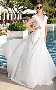 lanting vaina / columna más el tamaño de vestido de novia - marfil barrido / cepillo tren de georgette con cuello en V