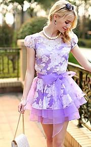 Women's Purple Dress , Casual/Lace Short Sleeve