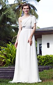 Lanting Bride® Corte en A Tallas pequeñas / Tallas Grandes Vestido de Boda - Elegante y Lujoso Simplemente Sublime Larga Sobre un Hombro
