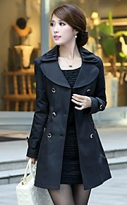Women's Tweed Double Breasted Lapel Trench Coat