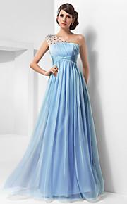 Robe - Bleu Ciel Bal de finissants/Bal militaire/Soirée formelle A-line/Princesse Épaule asymétrique Longueur ras du solMousseline