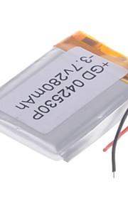 3.7V 280mAh Lithium Polymer batterij voor mobiele telefoons MP3 MP4 (4 * 25 * 30)