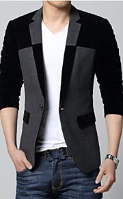 Men's Fashion Splicing Gentleman Blazer (Button Random)