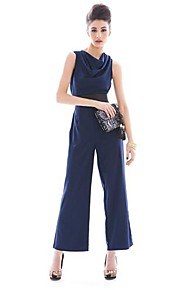Women's Solid Blue/Red/Gray Jumpsuits , Vintage/Casual/Work/Bodycon/Party/Plus Sizes Cowl Sleeveless