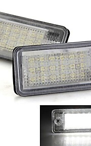 A Pair Car License Plate Lamps Bulbs White 18 SMD LED Lights 12V for Audi A3 A4 8E RS4 A6 RS6