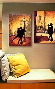 toile tendue art du tango dans la nuit décoration ensemble de deux