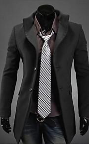 Women's Lapel Collar Casual Tweed Long Sleeve Long Parka Outwear