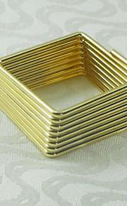 사각형 골드 실버 냅킨 링, 금속, 세로 4.5cm, 12 세트