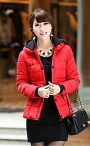 Women's  Winter New Solid Color Warm Thick Fur Collar Hooded Fashion Cotton Padded