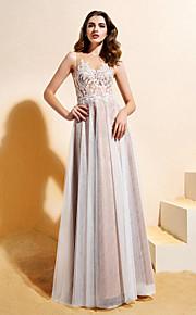 Lanting Bride® Trapèze / Princesse Petites Tailles Robe de Mariage  Colorées Longueur Sol Bijoux Dentelle / Tulle avec