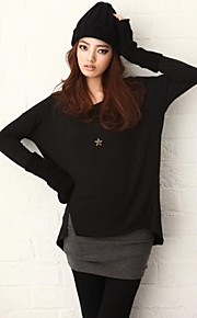 MoMaek R black turtleneck Korean loose sleeved bottoming shirt in the long bag hip false two piece suit dress