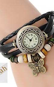 personlig gave til kvinder tre-lags wrap pu læder armbånd analog indgraveret ur med rhinsten