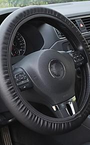 zwart pvc lederen stuurwiel geperforeerd voor dodge auto-accessoires universele pasvorm