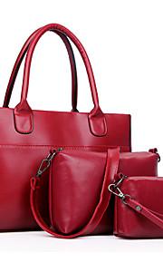 Women PU Shopper Shoulder Bag / Tote - Blue / Black / Burgundy