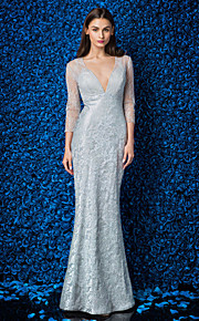 Homecoming Formal Evening/Prom/Military Ball Dress - Silver Plus Sizes Trumpet/Mermaid V-neck Ankle-length Lace/Tulle/Stretch Satin